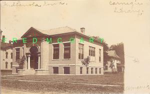 1905 Indianola (Warren County) Iowa RP with Carnegie Library, Possibly Unique