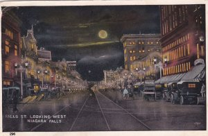 NIAGARA FALLS , Ontario , 1925 ; Falls Street looking West at Night