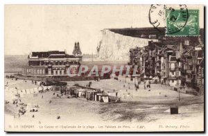 Old Postcard Treport Casino and Esplanade Beach The Cliffs Seas
