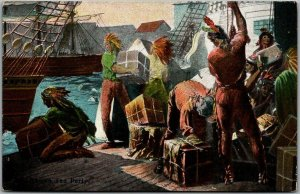 Vintage 1910s BOSTON TEA PARTY Postcard Reichner Brothers / Germany Unused