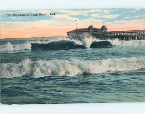 Divided-Back PIER SCENE Long Beach - Los Angeles California CA hp5055