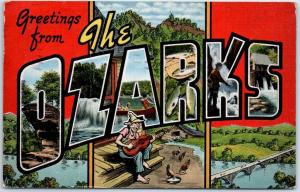 THE OZARKS Missouri Arkansas Large Letter Postcard KROPP Linen 1945 Cancel