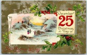 Vintage 1909 Christmas Postcard December 25 Calendar Page / Winter Scene