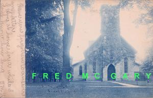 1907 Bellevue OH Cyanotype RPPC: Episcopal Church Covered With Ivy