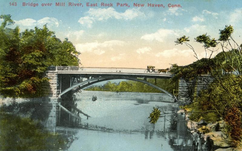 CT - New Haven - East Rock Park, Bridge Over Mill River