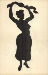 Art Deco Sexy Woman Semi Nude Silhouette Pasted on c1910 French Postcard #4