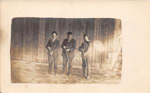 A30/ HUNTING Hunter GUN Rifle Real Photo RPPC Postcard c1910 Men Barn Cigar 19