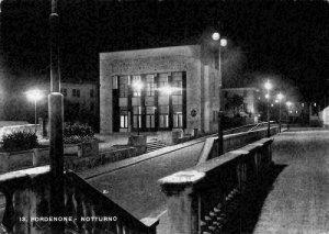 Italy Pordenone Notturno Night view Street Postcard