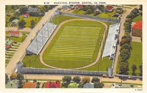Football Stadium Post Card Municipal Stadium Bristol, VA-Tenn Unused