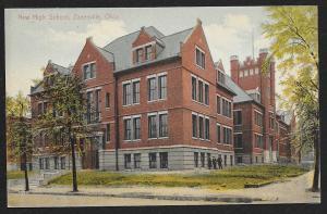 New High School Zanesville Ohio Unused c1909