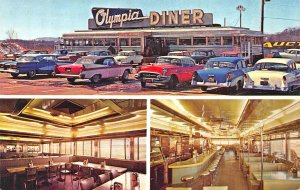 Newington CT The Olympia Diner Multi-View Old Cars Postcard
