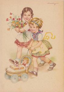 AS: Two girls, holding flowers and pushing a doll in carriage with gift, 20-30s