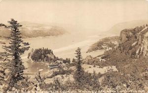RPPC, OR Oregon  CROWN POINT~ROOSTER ROCK Stilt Building~Piers  c1910's Postcard