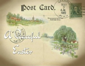Single Postcard Easter Greetings Hand Designed with a Vintage feel, Willow