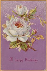 Vintage Birthday-A Happy Birthday White Flowers on Purple Background -