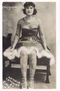 Artoria American Circus Performer 1920s Extreme Tattoos Postcard