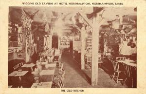 Northampton, MA, Old Kitchen, Wiggins Old Tavern, Hotel, Vintage Postcard e1512