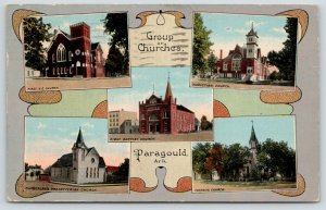 Paragould~Art Nouveau~Churches~Methodist~Christian~Baptist~Presby~Catholic~c1914