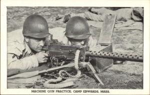 Camp Edwards MA Machine Gun Practice WWII Era Postcard
