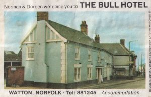 The Bull Hotel Watton Norfolk Pub Old Matchbox Label