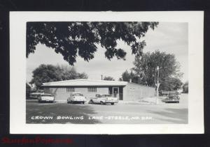 RPPC STEELE NORTH DAKOTA CROWN BOWLING ALLEY 1950's CARS REAL PHOTO POSTCARD