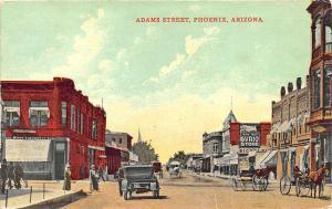 Phoenix AZ Adams Street Store Fronts Curio Store Horse & Wagons Postcard