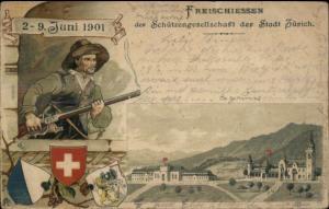 Swiss Army? Man w/ Gun Freischiessen Zurich Switzerland 1901 Postcard