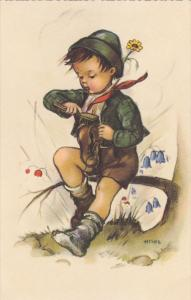 AS: Bonnie, Little Boy Sitting on a Branch Cleaning His Shoe With a Brush, 30...