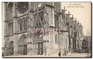 Old Postcard Mantes Notre Dame Portal