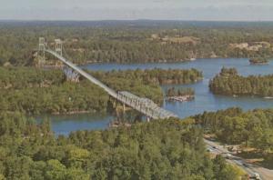 Thousand Islands Bridge Ontario Aerial Birds Eye Canada Canadian Postcard