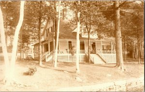 RPPC, Cottage at Congamond Lake MA Vintage Postcard T25
