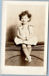 rppc Young girl with big smile Montrose studio, Columbus Ohio 1926-1940s