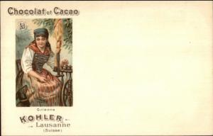 Kohler Chocolat Cacao Swiss Canton Shield Woman c1900 Postcard GRISONS myn