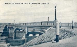 Marysville KS Dirt Embankment @ New Blue River Bridge~Concrete Post~1940s pc