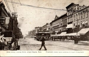 Michigan Grand Rapids Trolleys On Canal Street Looking North 1909