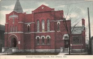 New Albany Indiana~Central Christian Church~Red Brick~Stained Glass~1910 PC