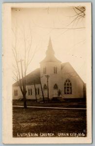 Queen City Missouri~Lutheran Church Corner~Dirt Road~Operation Here~1913 RPPC