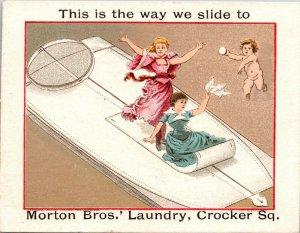 VERY RARE -  MORTON BROS. Laundry Soap Advertising Victorian Square Trade Card