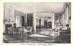 Georgia Ga Postcard Old WARM SPRINGS Georgia Hall Interior Humanitarian Cause