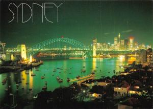 Australia Sydney by night viewed from Lavender Bay Bridge