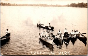 Lakeview Park Dracut MA canoes rowboat dinghy young men & women RPPC real photo