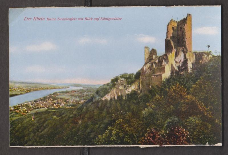 Rhein River View Of Konigswinter & Old Ruined Castle - Unused - Edge Wear