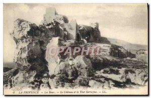 Old Postcard Provence Les Baux Chateau and the Saracen Tower