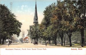 Detroit Michigan~Woodward Ave North (from Grand Circus Park)~Bicycles-Chuch~1905