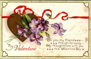 ANTIQUE EMBOSSED VALENTINE Postcard  - MY VALENTINE - FLOWERS HEART