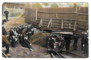 PA Coal Mine Miners Ascending from Coal Shaft Postcard
