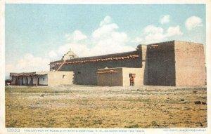 Santo Domingo Pueblo, NM Church Fred Harvey Vintage Postcard