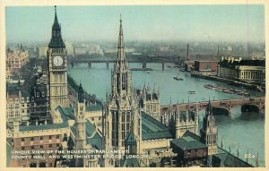 Postcard England London early XX century view from Victoria tower Parliament Ben