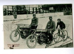 156725 1908 AUTOGRAPH of Coach on Motorcycle cyclist FACSIMILE