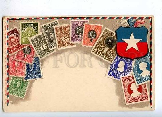 184867 CHILE Coat of arms STAMPS vintage EMBOSSED Postcard